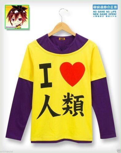 "Anime No Game No Life Sora /""I Love The Human/"" T-shirt en Coton Cosplay Costume"