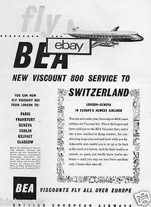 BEA BRITISH EUROPEAN 1957 VISCOUNT 800 SERVICE TO SWIZERLAND AD   eBay