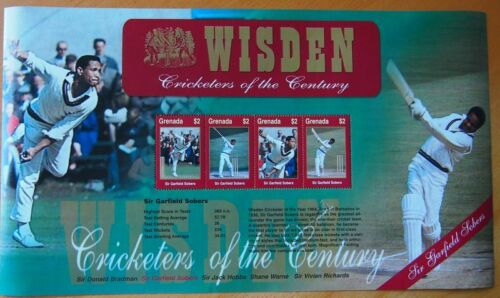 WISDEN CRICKETERS OF THE CENTURY MINT STAMP SHEET POSTAL TRIBUTEGARFIELD SOBERS