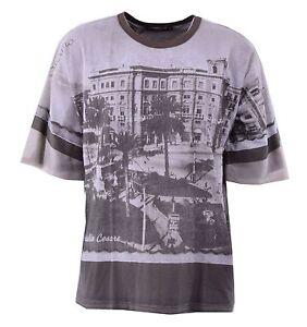 DOLCE-amp-GABBANA-RUNWAY-Viskose-T-Shirt-mit-Aufdruck-Palermo-Braun-Printed-04242