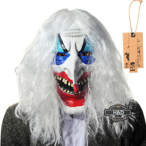latex halloween mask white hair clown face fancy party