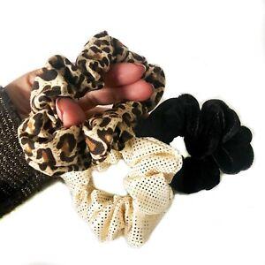 3 Pack Set Velvet Hair Scrunchies Ponio Elastic Hair Band Leopard Cream Black