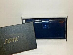 GIFT-BOXED-NAVY-BLUE-Genuine-Leather-RFID-Protected-Women-039-s-Wallet-NICE