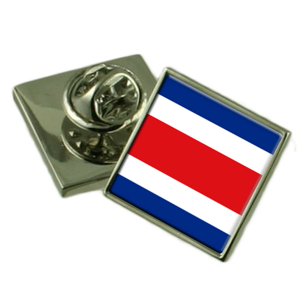 COSTA RICA bavero Pin argentoo Sterling 925 BADGE BADGE BADGE Incisa Personalizzata Scatola acc127