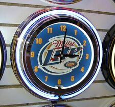Miller Lite Beer Logo Sign  2 Ring Neon Clock