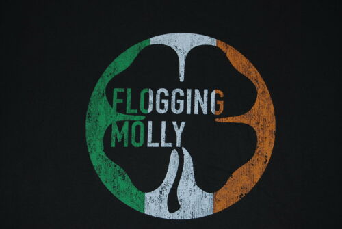 FLOGGING MOLLY DISTRESSED IRISH FLAG CLOVER T SHIRT NEW OFFICIAL SWAGGER FLOAT