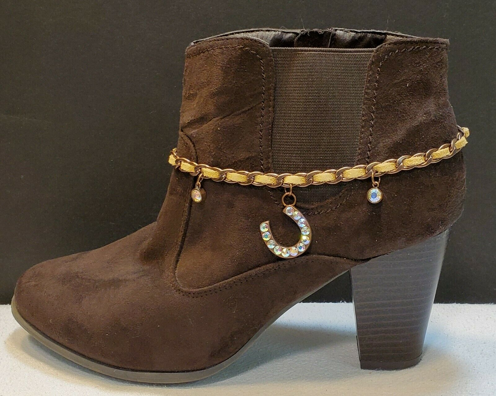 Adjustable camel leather and copper chain with rhinestone horseshoe boot charm