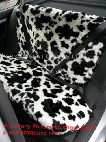TOYOTA AYGO CAR SEAT COVERS COW BLACK//WHITE FURRY FAUX FUR SBFCS003