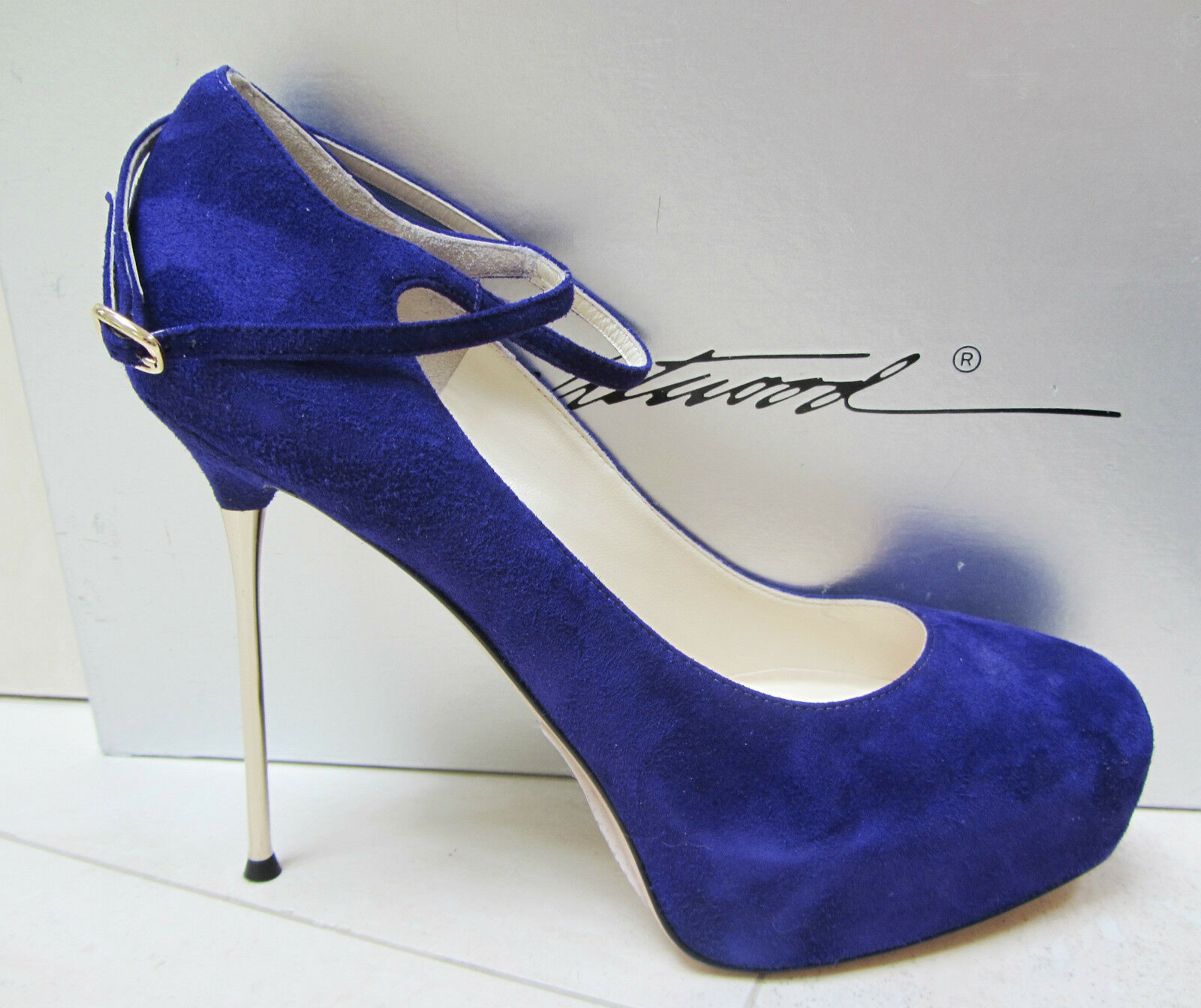 NIB BRIAN ATWOOD FOLLOW ME PLATFORM SPIKE HEEL PURPLE SUEDE PUMPS SHOES 39.5