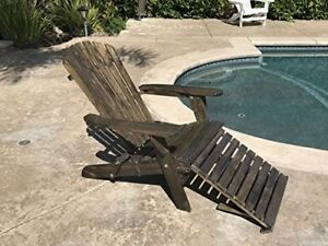 Image Is Loading Outdoor Wood Adirondack Chair Foldable W Pull Out