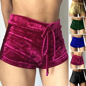 Women Fashion Velet Sport Yoga Runner Shorts High Waist Elastic ...