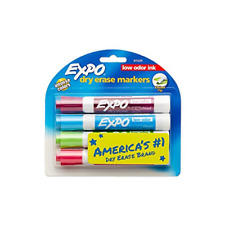 Expo Low Odor Dry Erase Markers Chisel Tip Fashion Colors 4 Count
