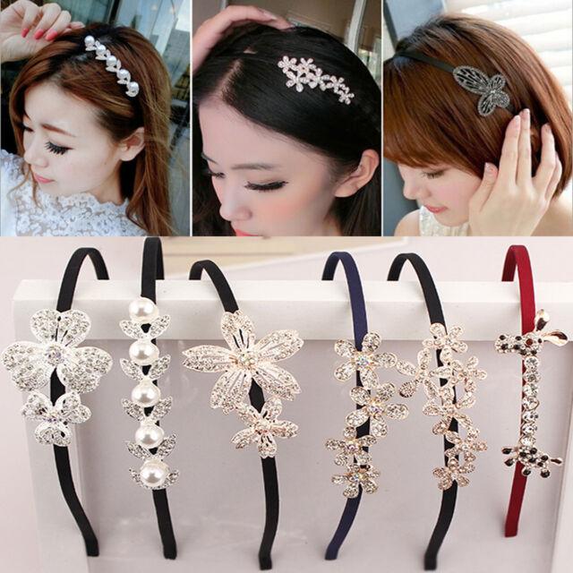 Fashion Lady Girls Pearl Charm Elegant Crystal Elastic Hairband Headband Hair