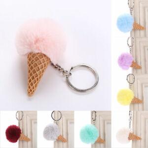 Furry-Ice-Cream-Key-Chain-Ring-Keyring-Keychain-Handbag-Charm-Pendant-Decor-12UK