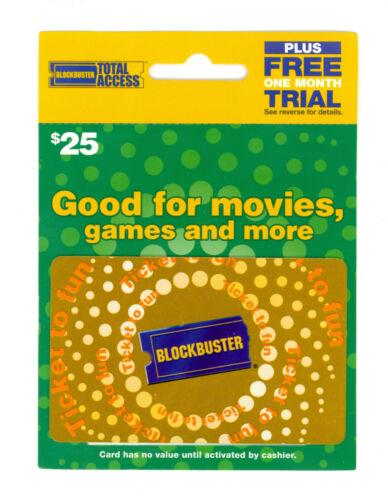 No Value Vintage Unused Blockbuster Video $25 Gift Card in Original Packaging