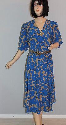 True Vtg Vintage Abito Midi Maxi Midikleid Dress 38/40 M Color Block Print Blu-mostra Il Titolo Originale