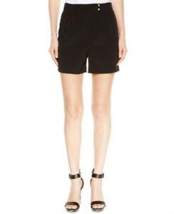 Calvin Klein Women's Pleated Mock Wrap-front Shorts Black Size 16