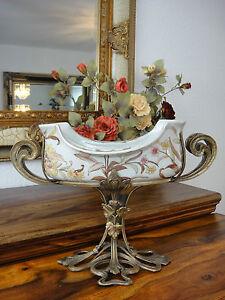 Luxus Prunkschale Jugendstil Schale Porzellan Bronze Zierschale Edel Antik Vase
