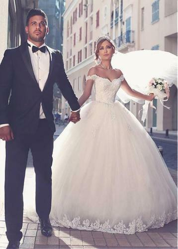 Ball Gown White Ivory Tulle Bridal Gown Off Shoulder Wedding Dress Size 6-18