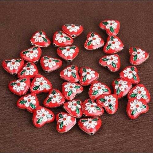 1Pcs DIY Drops Of Oil Alloy Love Heart Jewelry Accessories 8*15*16mm AE3824