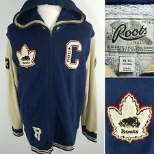 ROOTS CANADA Men's XL Navy Blue Letterman Jacket Hoodie Patches 73 Maple Leaf