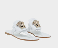 Versace Palazzo White Leather Flat Thong Sandals 37 - 7