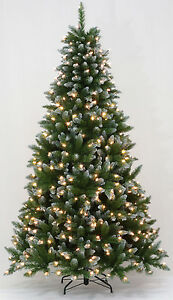 9\' Frosted Allison Spruce Artificial Christmas Tree w/ Multi-color ...
