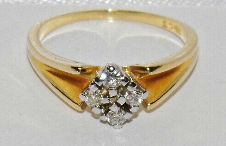 VINTAGE 18ct oro Diamante Grappolo Anello Dimensione H-oro Massiccio 18k 18k 18k 70ece1