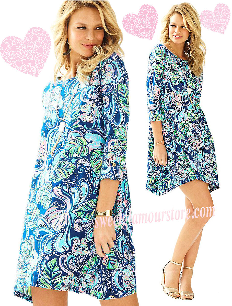 NWT Lilly Pulitzer Edna Hanging with Fronds Multi Pima Cotton Swing Shirt Dress