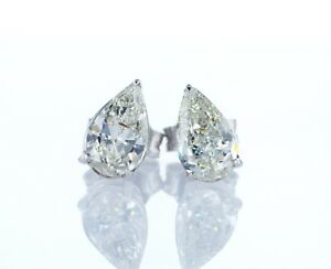 1-44-Ct-NATURAL-DIAMOND-PEAR-SHAPE-14K-WHITE-GOLD-ANNIVERSARY-EARRINGS
