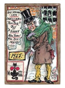 Christmas Carol Scrooge Drawing.Christmas Carol Scrooge 1955 Walter Catlett Drawn Art
