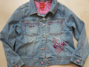 the latest 4a094 47dcb Details zu Esprit Jeansjacke blau pink Strass Gr. 116 122 Mädchen