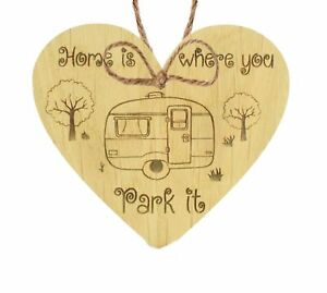 Home Is Where You Park It Novelty Wooden Heart Plaque Caravan Hanging Gift Sign