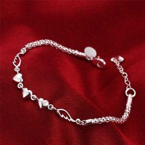 925-Sterling-Silber-Armband-Bettelarmband-Herz-Charm-Armreif-Schmuck-Love-Neu