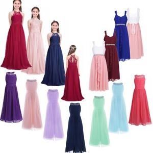 Flower Girl Dress Maxi Long Formal Ball Gown for Kids Teens Wedding Bridesmaid