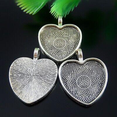 50185 Antique Silver Alloy Rose Edge Heart Shaped Setting Tray Pendants 12PCS