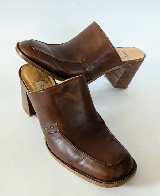 Coach Mule Size 10 B Brown Leather Block Stack Heel Clog Slip On Squoval Toe