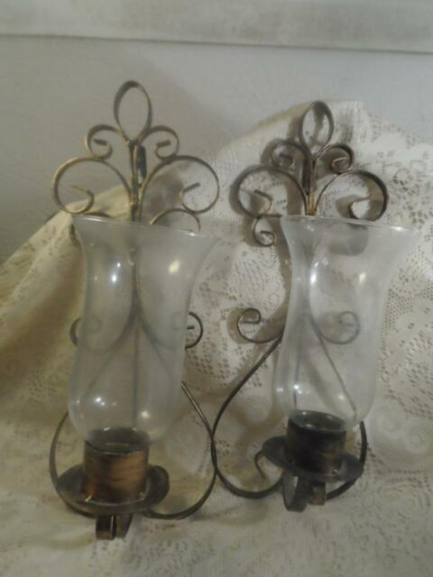 2 Vintage Gilt Bronze Wrought Iron W Crystal Chimneys Wall Sconce Candle Holders