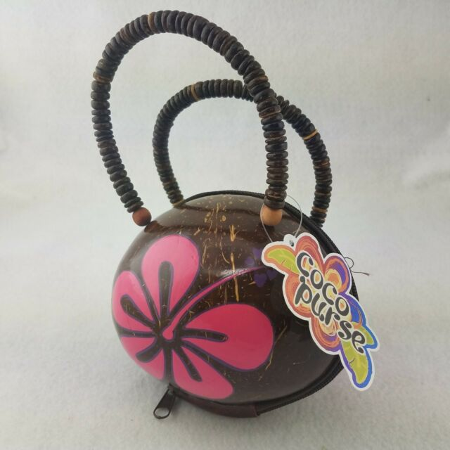 ONLY FEW AVAILAVBLE!!!! HAWAIIAN REAL COCONUT SHELL RED HIBISCUS FLOWER PURSE