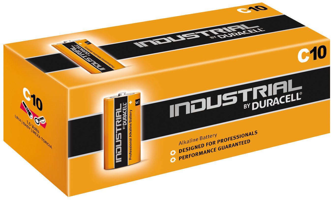 10 x Duracell C Size Industrial Procell Alkaline Batteries (LR14 MN1400 BABY)