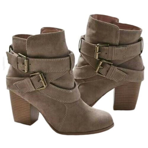 Womens Ladies Faux Suede Mid Block Heel Buckle Work Ankle Strap Boot Shoes Sizes
