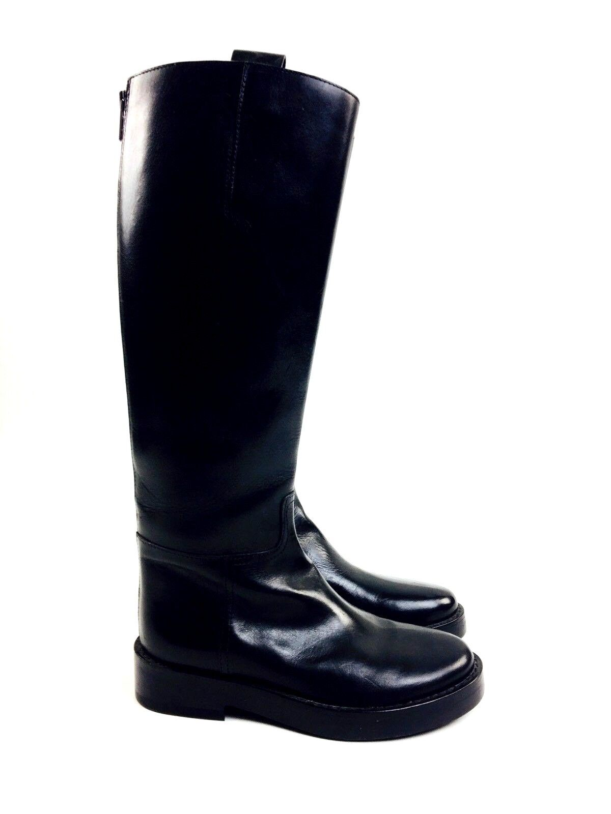 Ann Demeulemeester Boots Black Leather Tall Riding Equestrian Boots 6.5 2195