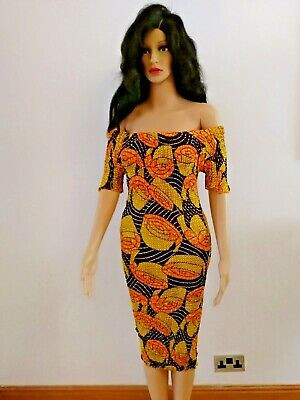 Registyle African Print Ankara Elastic Sewn Dresses UK Sizes 8-14