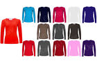 NEW LADIES WOMENS PLUS SIZE LONG SLEEVE STRETCHY PLAIN TOPS SIZES 8-18