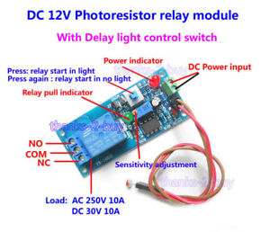 Details about DC12V LED Light Control Switch Light Photoresistor Relay on