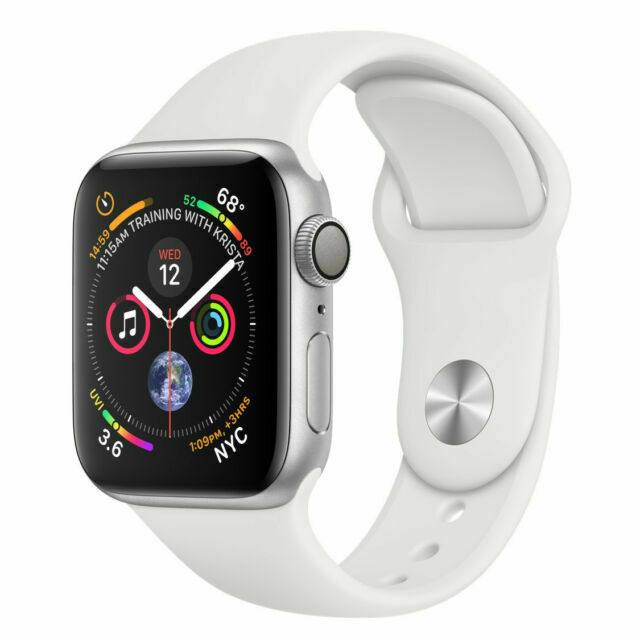 Apple Watch Series 4 40 Mm Silver Aluminum Case White Sport Band Mu642ll A For Sale Online Ebay