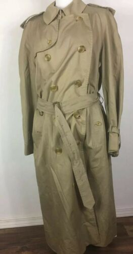 "Vintage Burberry Mens Size 42"" Long Classic Trench"