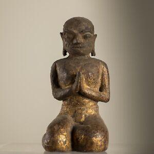 Charmant Antique Burmese Shan . Figure De Bouddha Birmanie