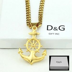 Image is loading DG-Men-039-s-Gold-Stainless-Steel-Nautical- bcf917b2993