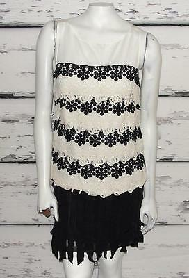 ANN TAYLOR~IVORY & BLACK~COCKTAIL~FORMAL *RUFFLED PLEATED SKIRT & TOP* OUTFIT~4